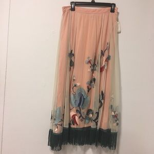 Anthropologie Teal Tassel Embroidered Maxi Skirt 8